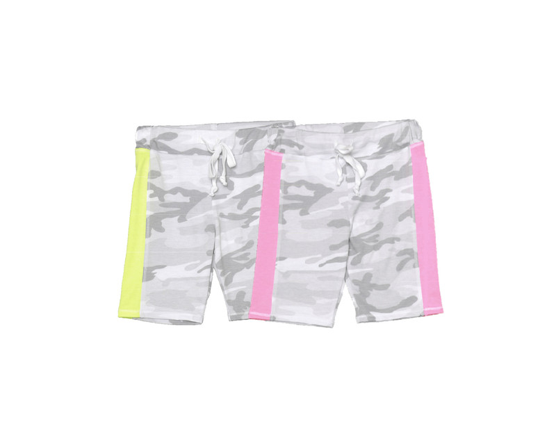 NEON YELLOW NEON PINK CONTRAST PANEL SHORTS