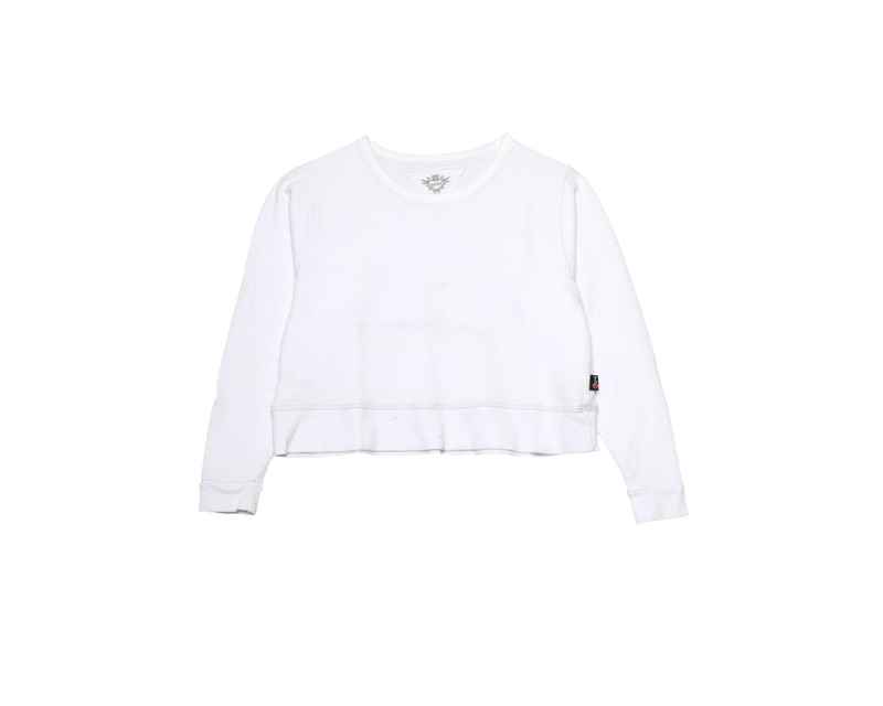 WHITE LONG SLEEVE BOXY FRENCH TERRY CREW TOP