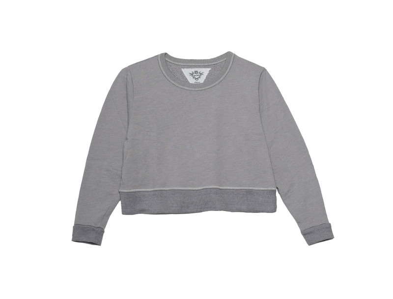 DK GREY LONG SLEEVE BOXY FRENCH TERRY CREW TOP
