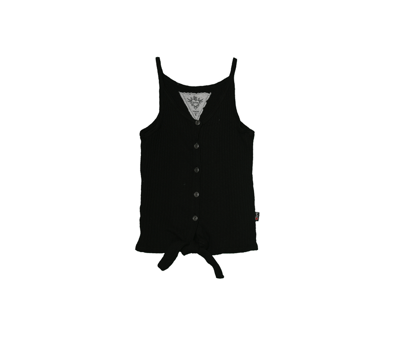 BLACK BUTTON DOWN CAMI WITH FRONT TIE