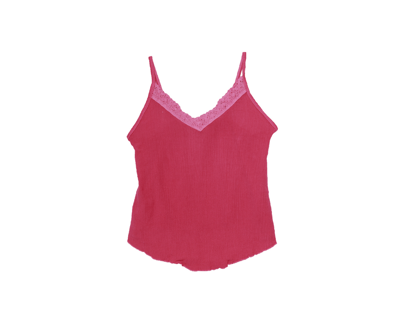 BRIGHT PINK LACE CONTRAST CAMI