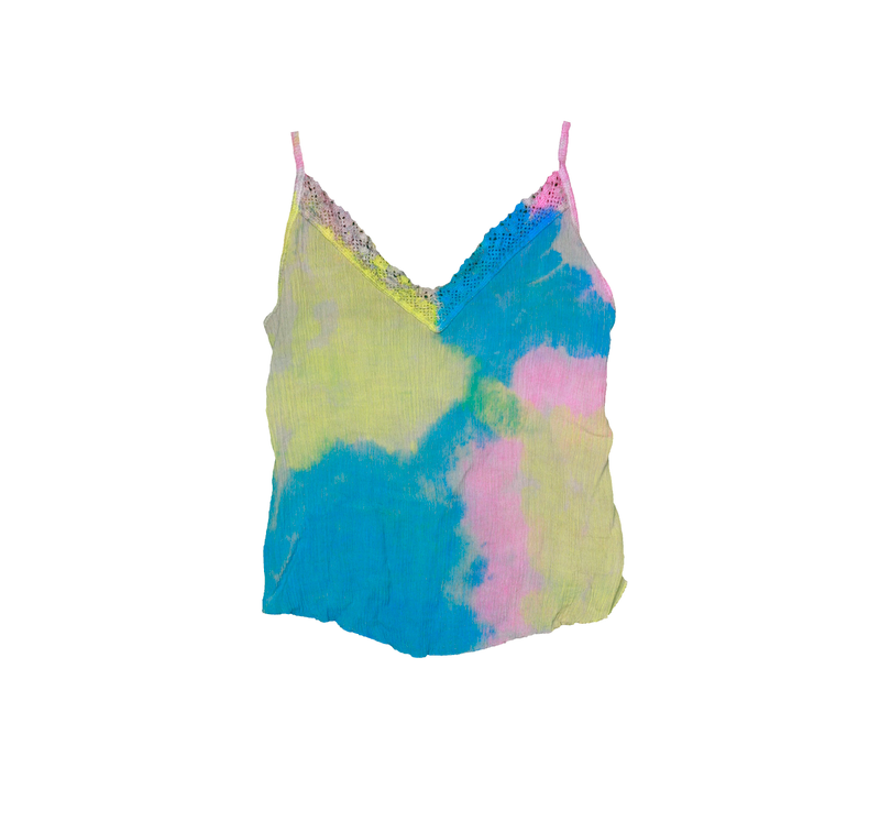 YPB NEON TIE DYE LACE CONTRAST CAMI