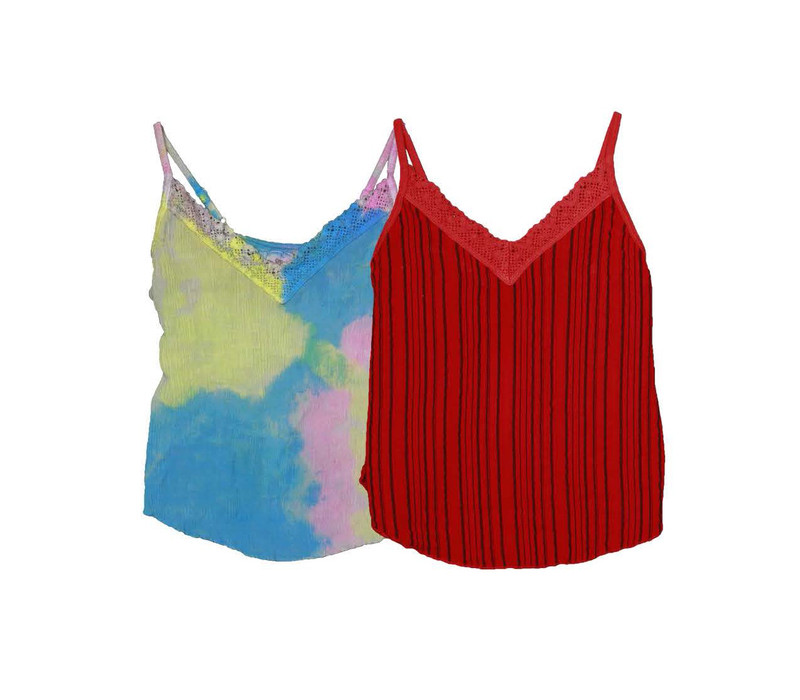 YPB NEON TIE DYE/V RED VERTICAL STRIPES LACE CONTRAST CAMI