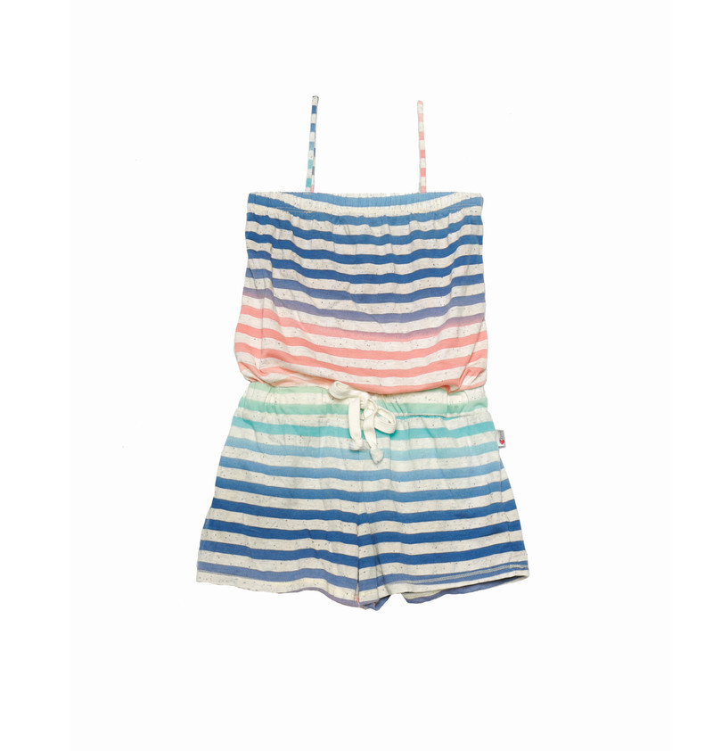 MULTI STRIPES ROMPER WITH DRAWSTING