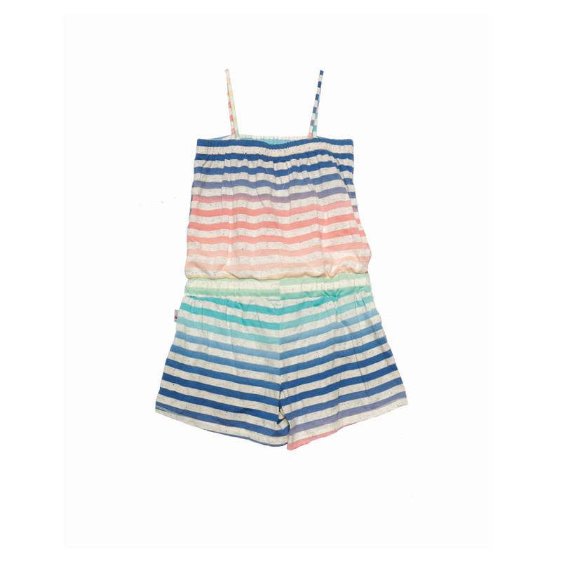 MULTI STRIPES ROMPER WITH DRAWSTING BACK VIEW
