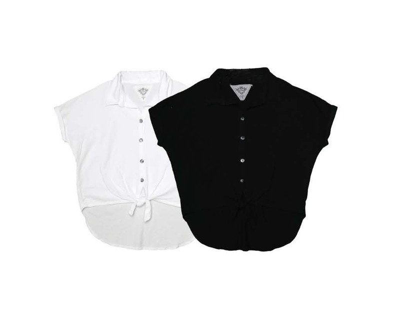 WHITE BLACK SHORT SLEEVE BUTTON FRONT WIDE SHIRT