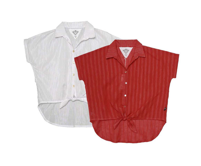 WHITE V. RED SHORT SLEEVE BUTTON FRONT WIDE SHIRT