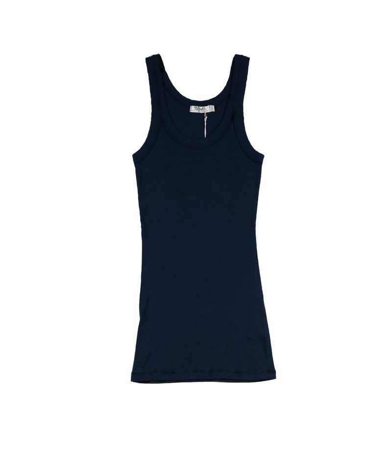 NAVY RAW EDGES TANK TOP