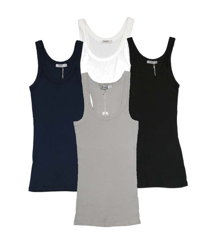 NAVY WHITE BLACK LT GREY TANK TOP
