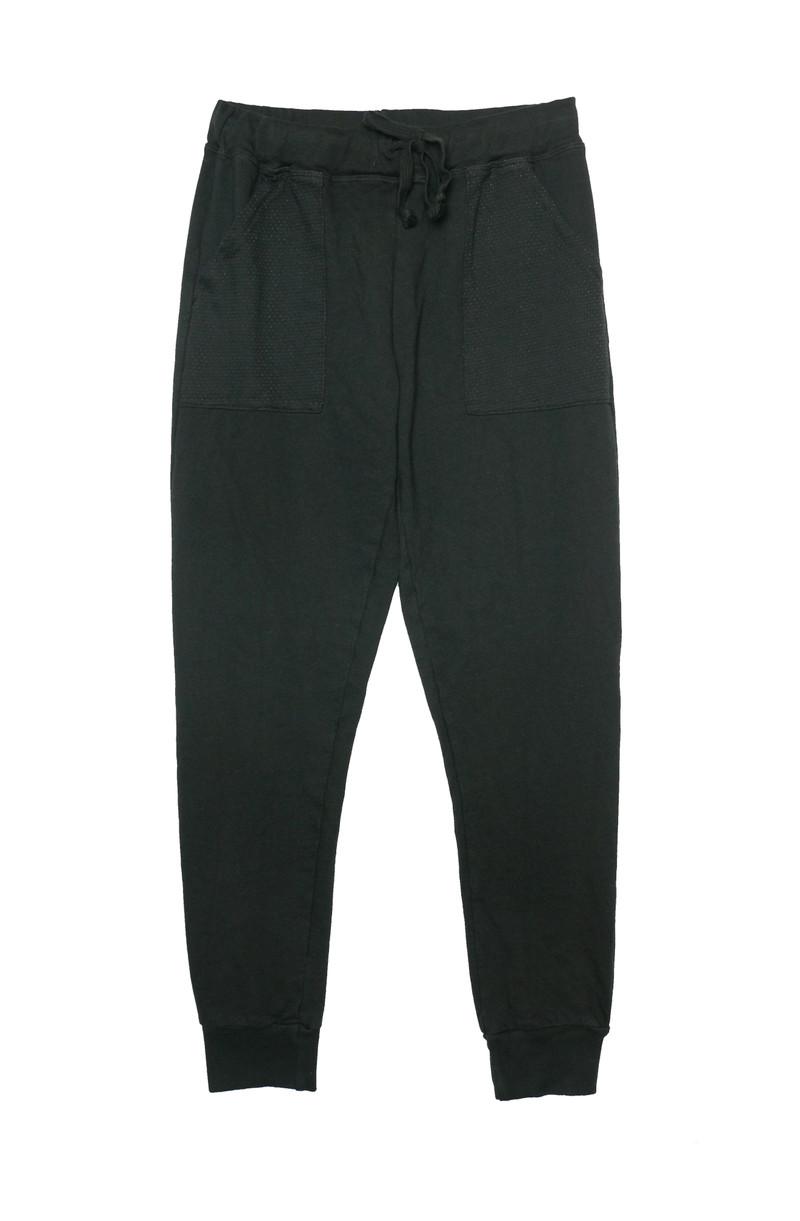 BLACK MESH POCKET CONTRAST SWEAT PANTS
