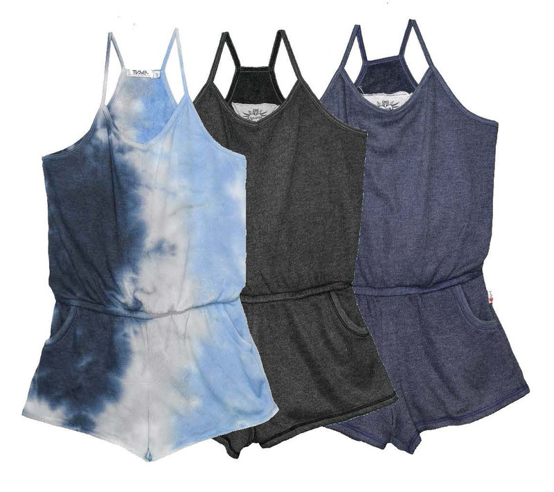 NGB TIE DYE, BLACK, NAVY ROMPER WITH POCKETS