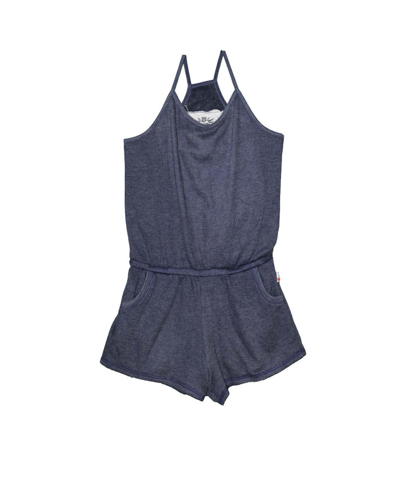 NAVY CAMI ROMPER WITH POCKETS
