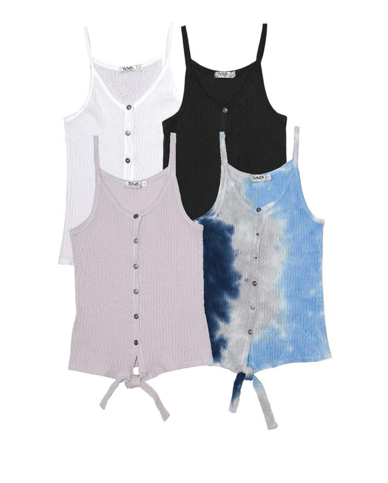 WHITE, BLACK, LT GREY, NGB BUTTON DOWN CAMI TIE FRONT