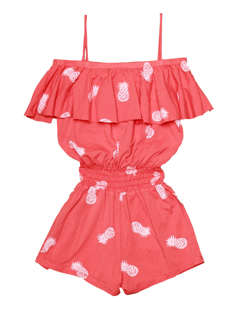 CORAL WHITE PINEAPPLE RUFFLE ROMPER SMOCKING WAIST