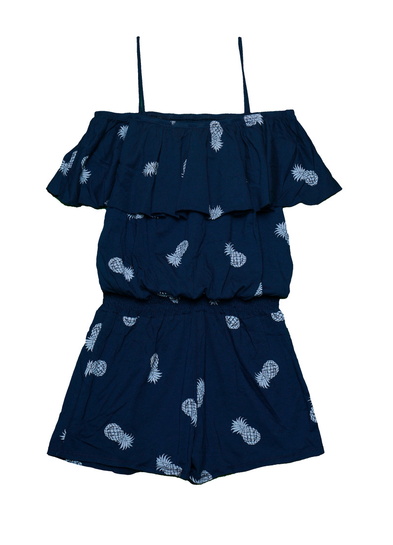 NAVY WITH WHITE PINEAPPLE RUFFLE ROMPER SMOCKING WAIST
