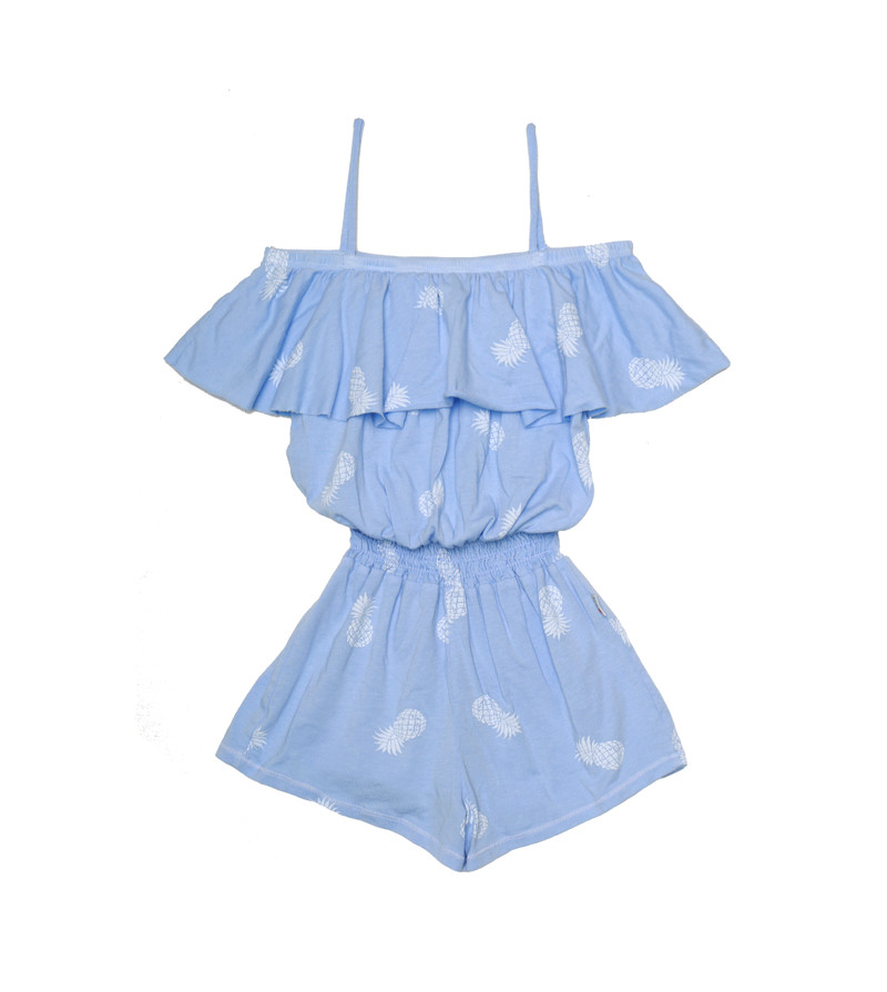 C BLUE WITH WHITE PINEAPPLE RUFFLE ROMPER SMOCKING WAIST