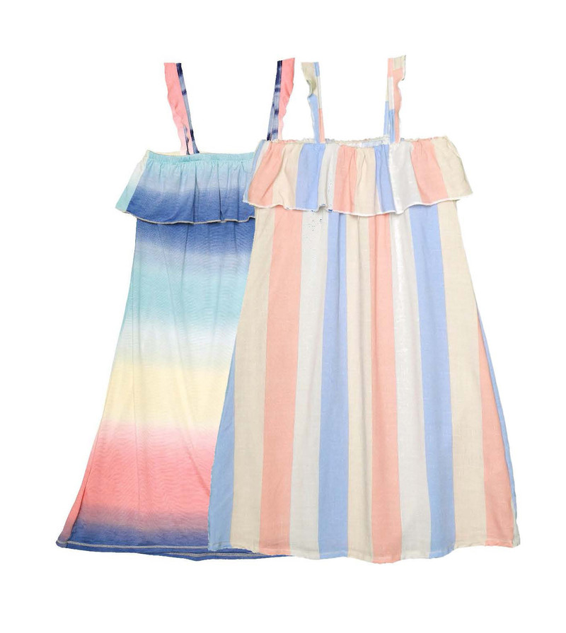 MULTI OMBRE CORAL BLUE STRIPES RUFFLE SUN DRESS