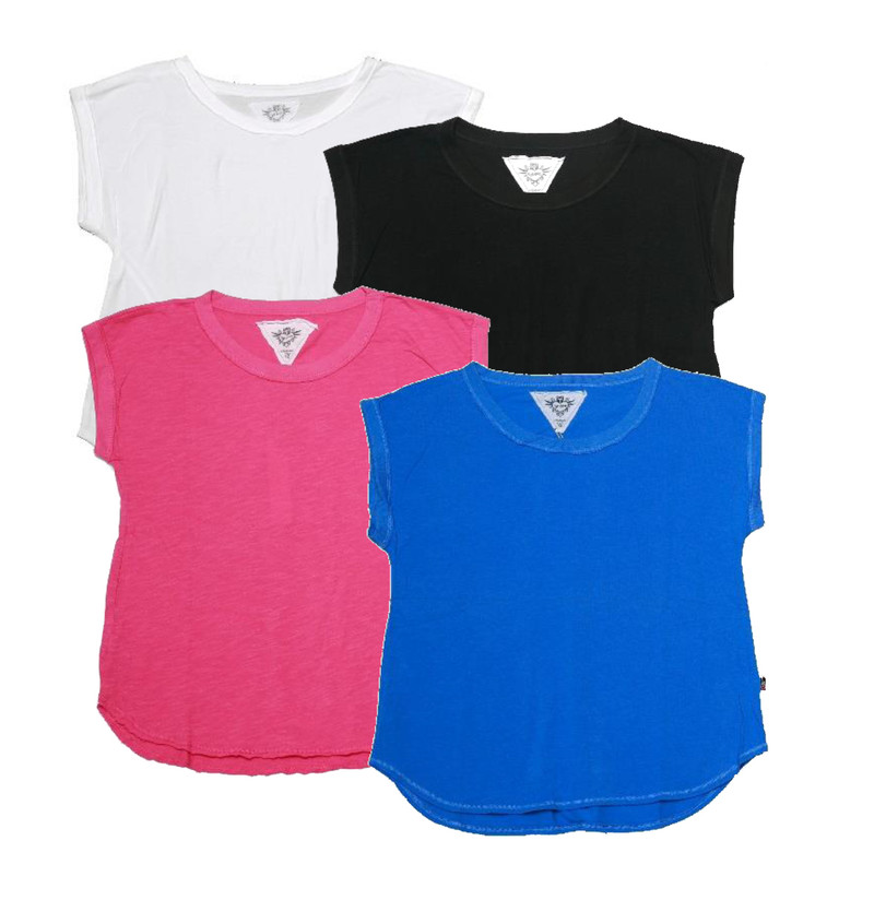 WHITE, BLACK, HOT PINK, RIVER BLUE JERSEY COTTON MUSCLE TOP