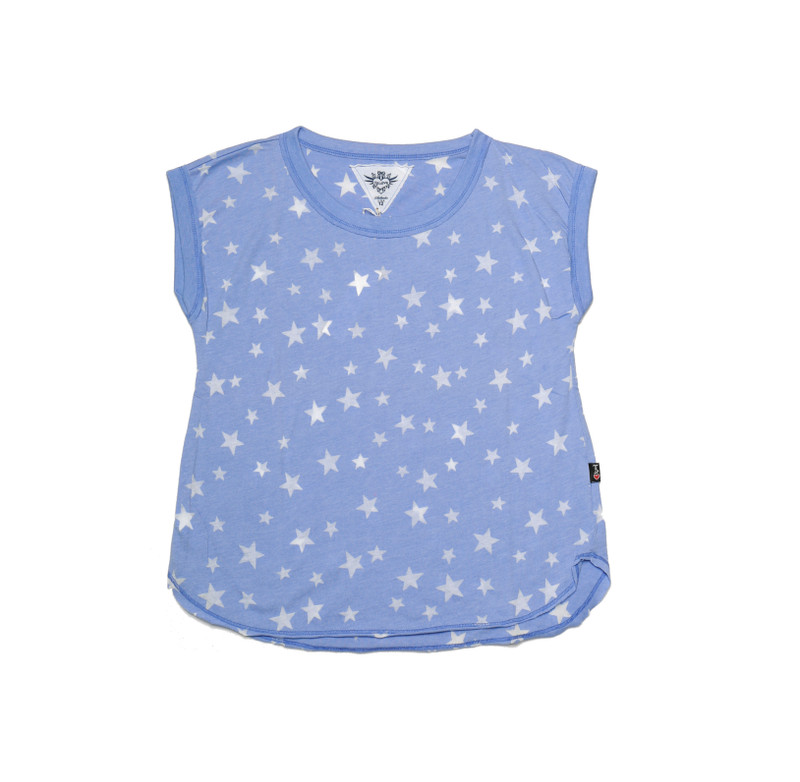 ULTRA MARINE JERSEY COTTON MUSCLE TOP WITH BURNOUT STARS