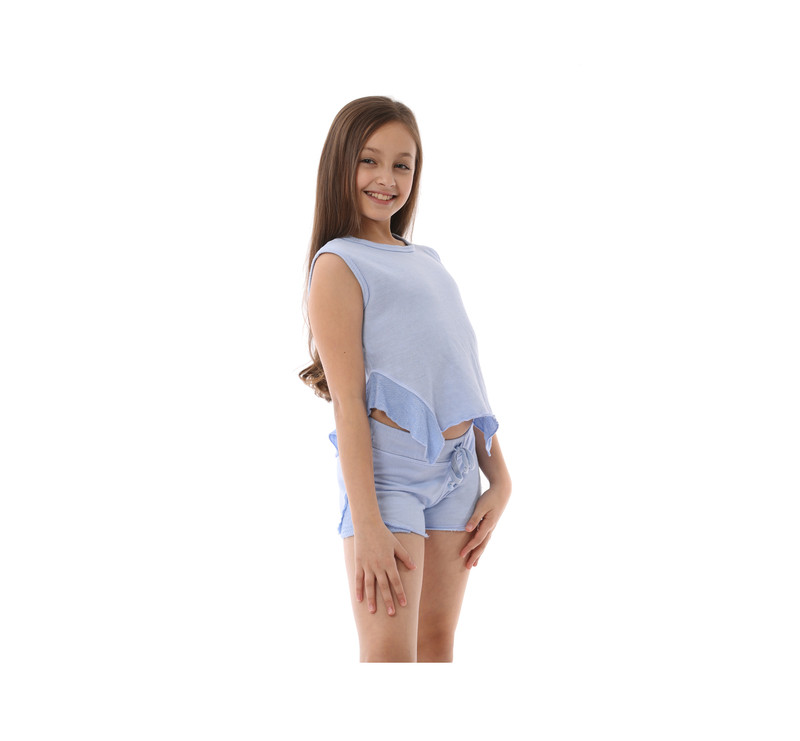 C BLUE SHORTS WITH REVERSE CONTRAST