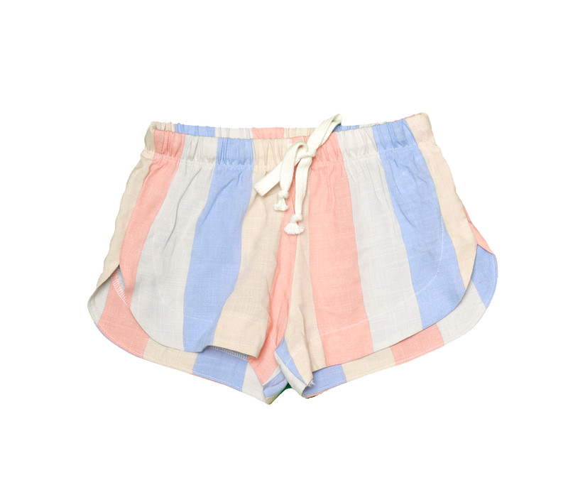 CORAL BLUE STRIPES COZY SHORTS