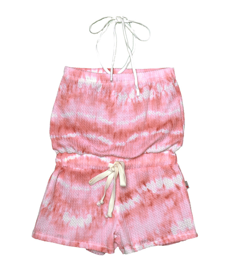 CORAL TIE DYE HALTER ROMPER WITH DRAWSTRING