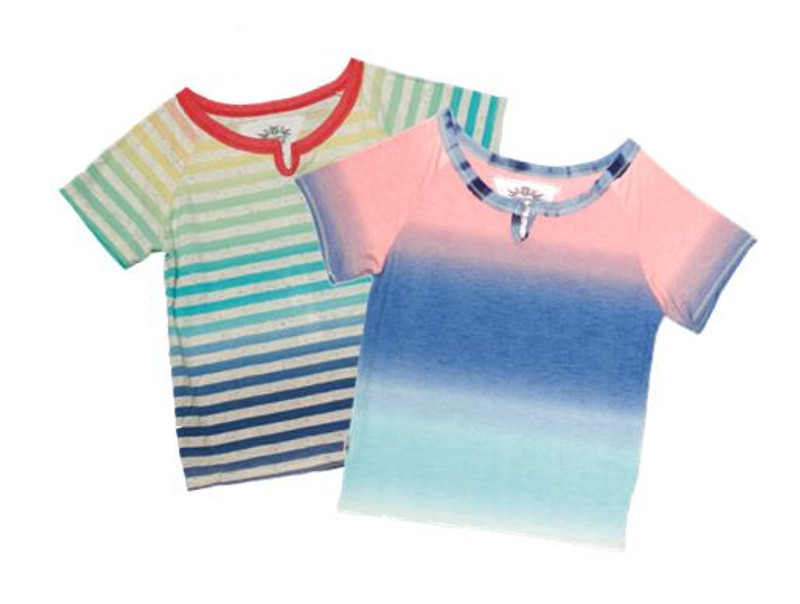 MULTI-COLOR STRIPES AND OMBERE SHORT SLEEVE NOTCH TEE