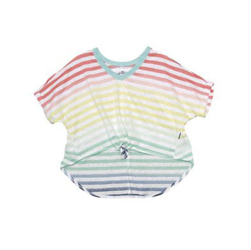 MULTI-COLOR STRIPES SHORT SLEEVE TIE FRONT V-NECK TOP