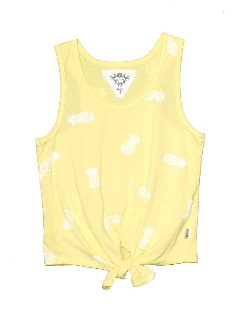 LT YELLOW WITH WHITE PINEAPPLE PRINT TIE FRONT RACER TANK
