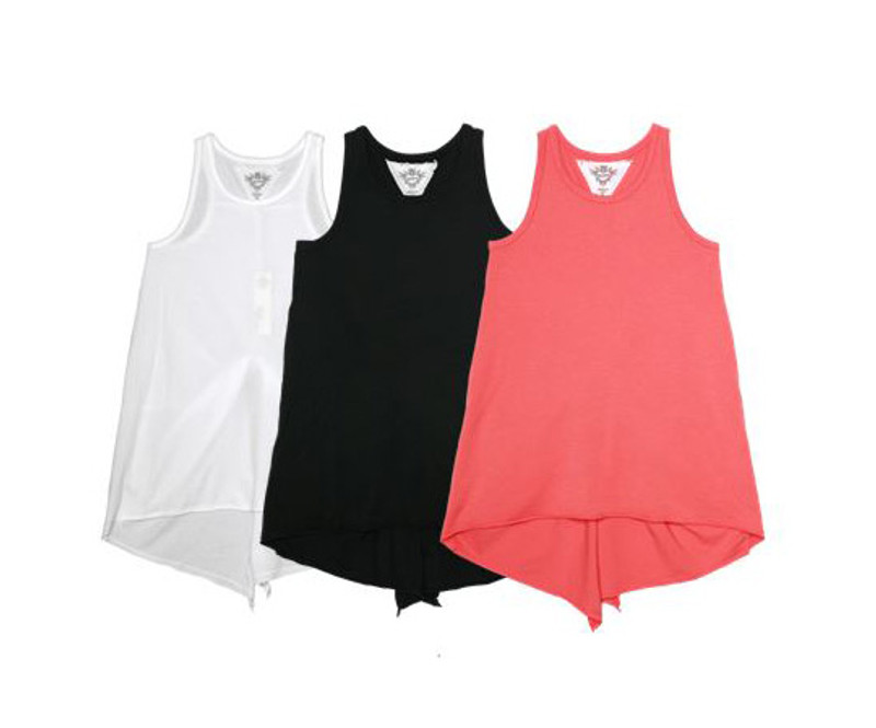 WHITE, BLACK, CORAL KNOTTED BACK TANK TOP