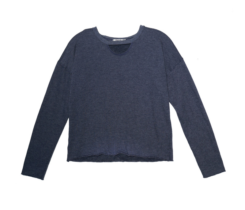NAVY LONG SLEEVE CREW WITH KEYHOLE FRONT
