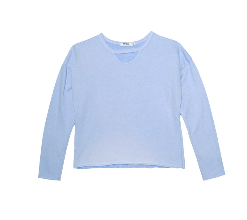 BABY BLUE LONG SLEEVE CREW WITH KEYHOLE FRONT