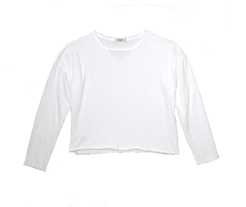 WHITE LONG SLEEVE CREW WITH KEYHOLE FRONT