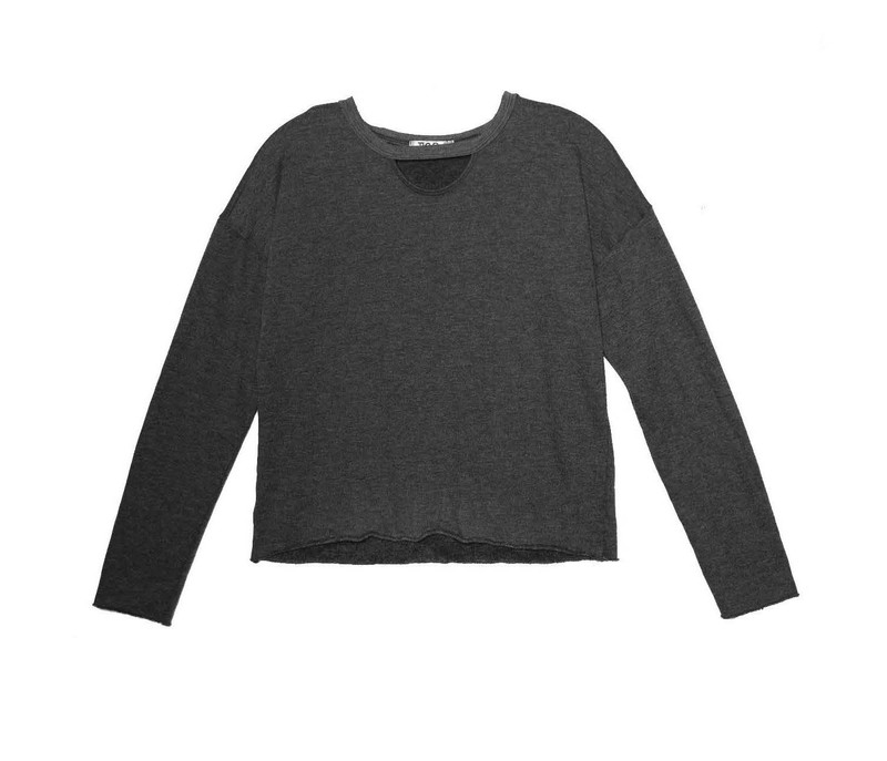 BLACK LONG SLEEVE CREW WITH KEYHOLE FRONT