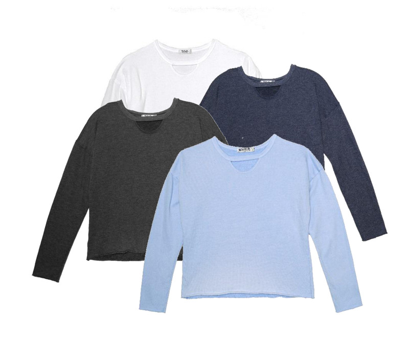 WHITE, BLACK, NAVY, BABY BLUE LONG SLEEVE CREW WITH KEYHOLE FRONT