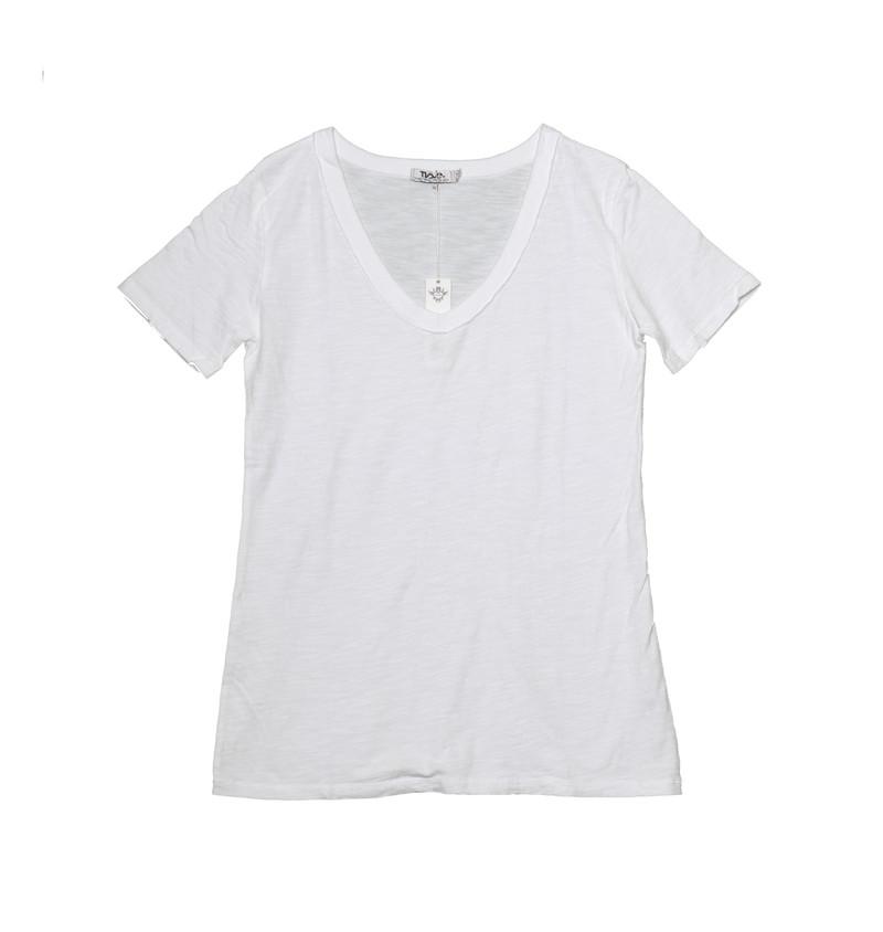 WHITE SHORT SLEEVE BOYFRIEND V-NECK TEE