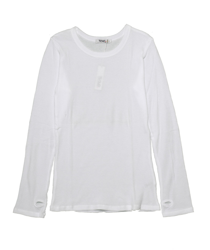 WHITE LONG SLEEVE CREW THERMAL WITH THUMB HOLES