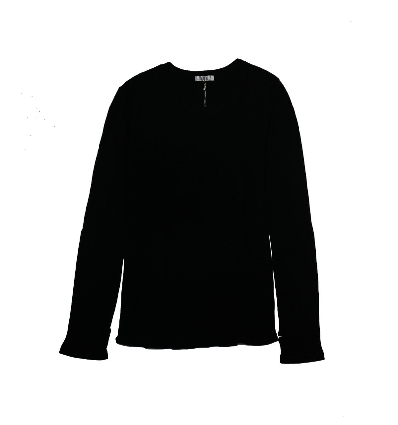 BLACK LONG SLEEVE CREW THERMAL WITH THUMB HOLES