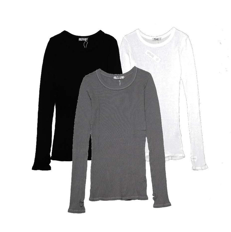 BLACK WHITE MGREY LONG SLEEVE CREW THERMAL WITH THUMB HOLES