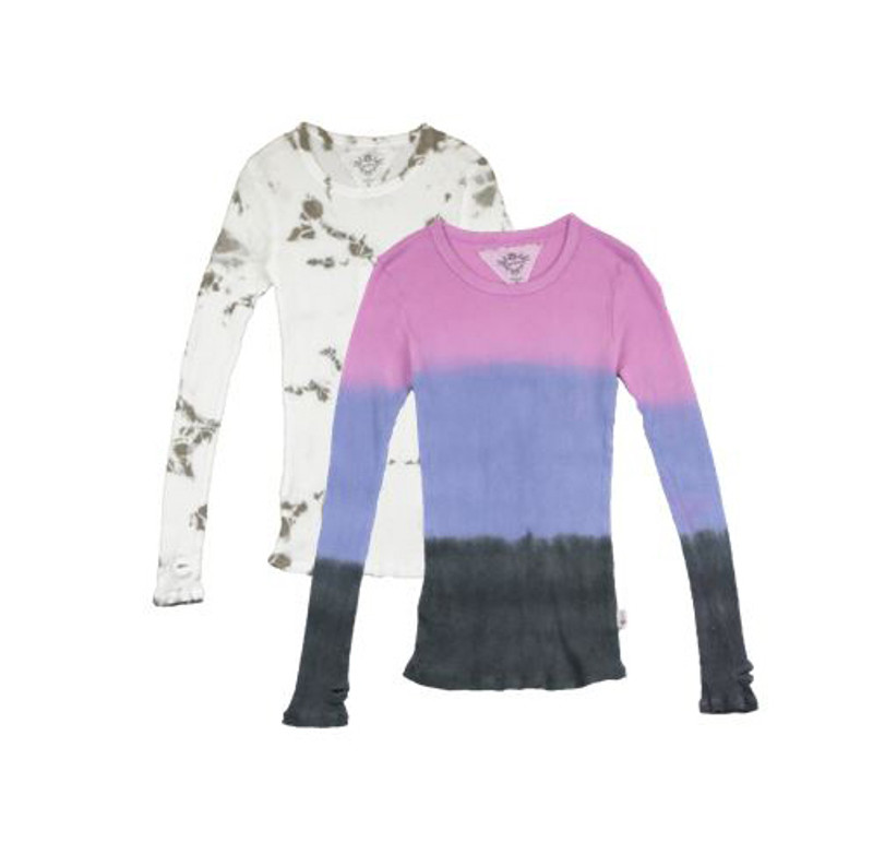 NATURAL AND PINK BLUE BLACK TIE DYE LONG SLEEVE CHEWNECK WITH THUMBHOLES