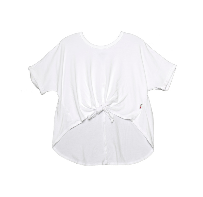 WHITE ROLL SLEEVE TIE FRONT TOP