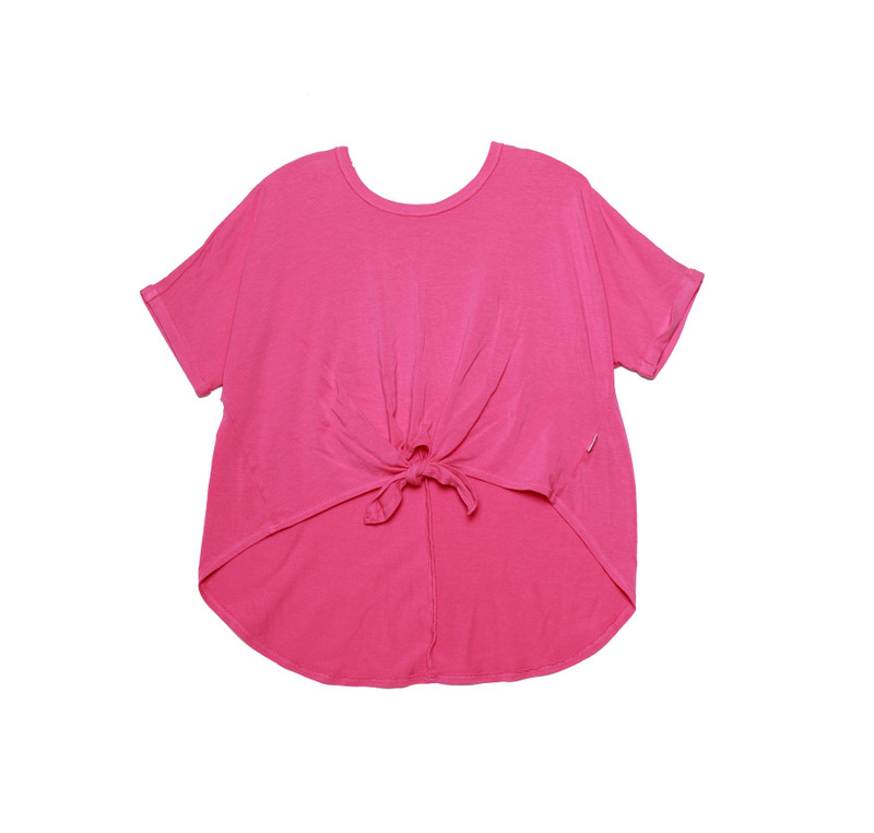 M PINK ROLL SLEEVE TIE FRONT TOP