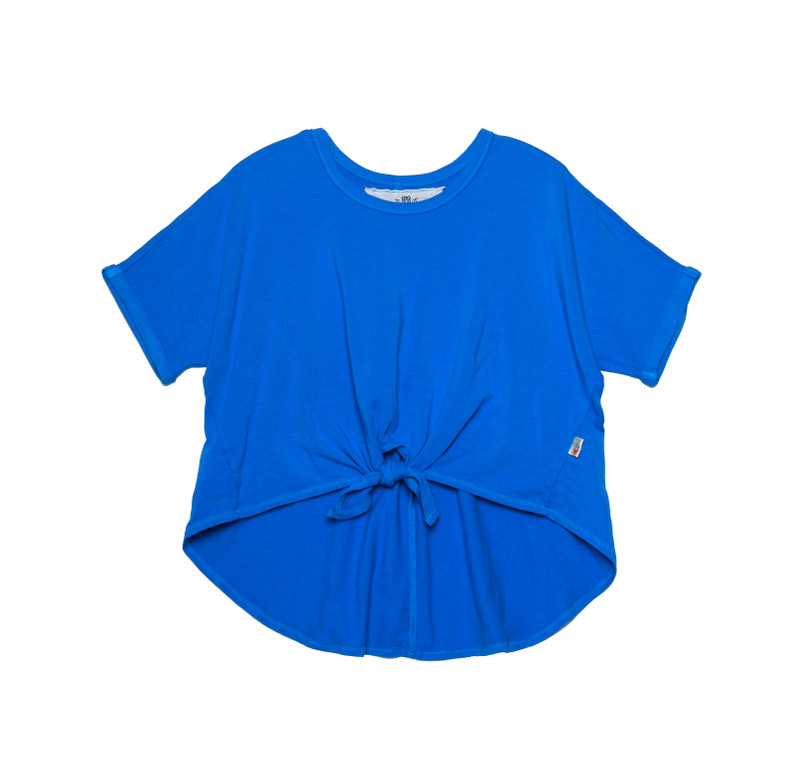 M BLUE ROLL SLEEVE TIE FRONT TOP