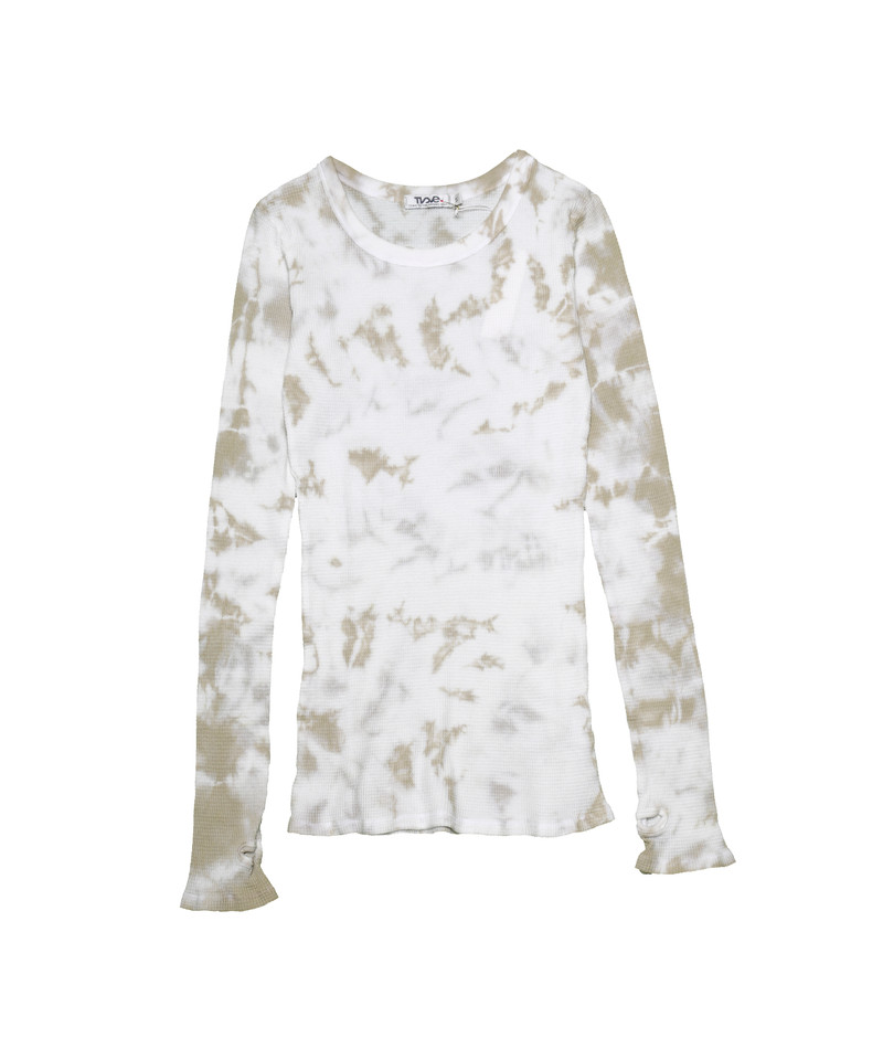 NATURAL TIE DYE LONG SLEEVE CREW NECK TOP WITH THUMBHOLES