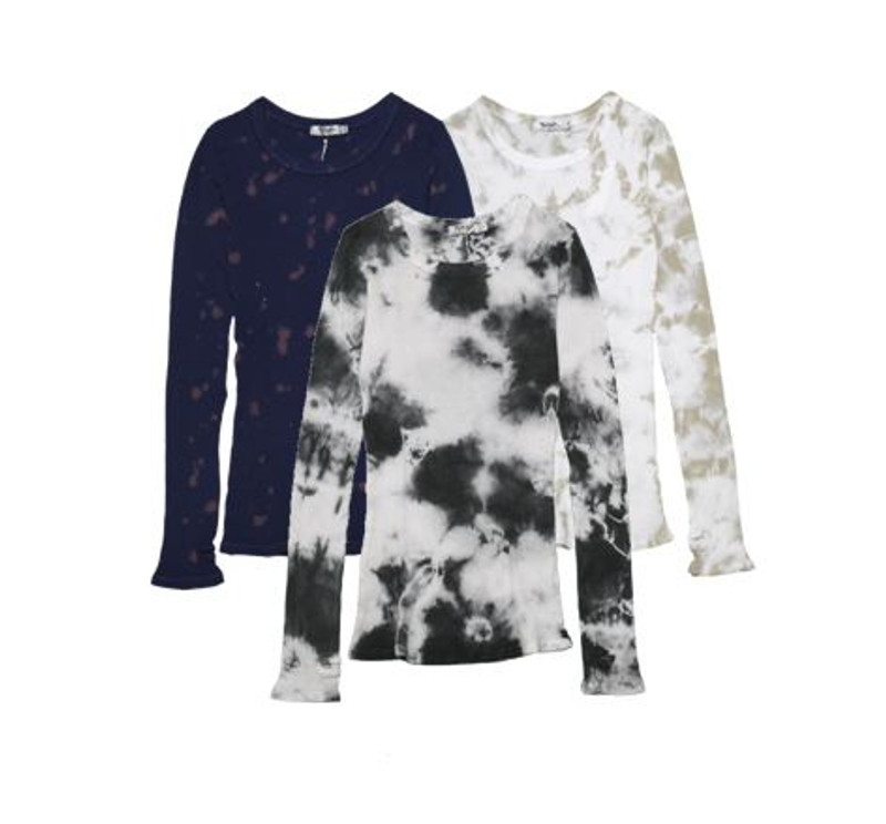 SPOTS, NATURAL, CG TIE DYE LONG SLEEVE CREW NECK TOP WITH THUMBHOLES