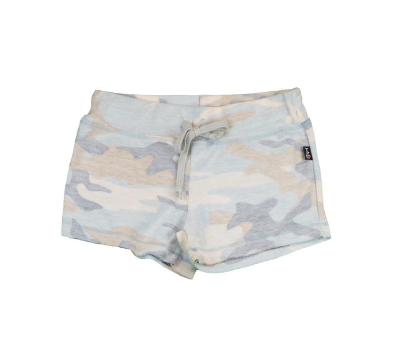 NBS (NAVY BLUE SAND) GIRLS REVERSED CAMO PRINT RAW SHORTS WITH BACK POCKET