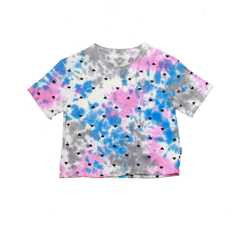 BLUE GREY PINK TIE DYE WITH MINI BLACK HEARTS SHORT SLEEVE BOXY TEE