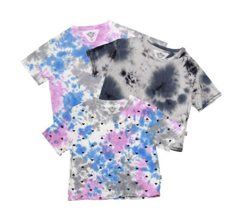 BGP CG TIE DYE BGP WITH MINI BLACK HEARTS SHORT SLEEVE BOXY TEE