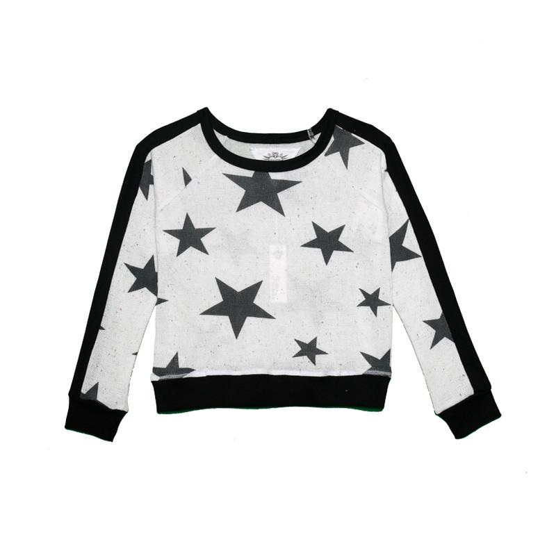 BLACK STARS LONG SLEEVE CONTRAST PANEL CREW