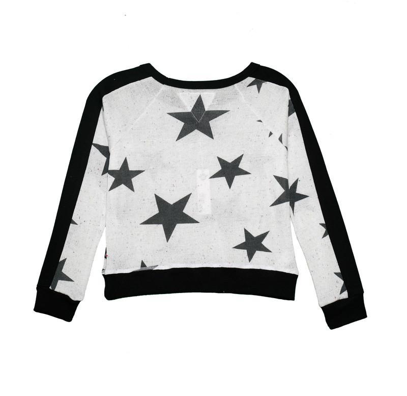 BLACK STARS LONG SLEEVE CONTRAST PANEL CREW - BACK VIEW